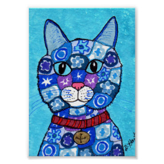 Mini arte popular de Millefiori del gato azul del Póster
