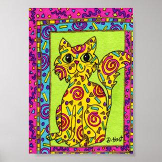 Mini arte popular del gato amarillo festivo póster