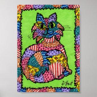 Mini arte popular del gato mullido del remiendo póster