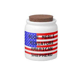 mini aussie name on flag blue merle candy jar