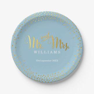 Mini azul del oro del confeti de la TABLA ELEGANTE Plato De Papel De 7 Pulgadas