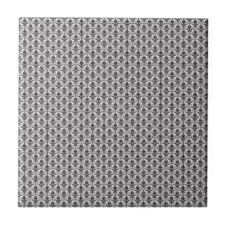 Mini Black and White Damask Pattern Tile