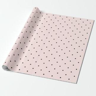 Mini Black & Blush Pink Polka Dots Pattern Wedding Wrapping Paper