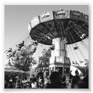 Mini blanco y negro del carrusel fotografías