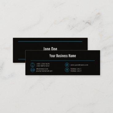 Mini Blue Business Elegant Lines Icons Black Mini Business Card