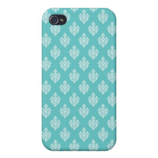 Mini blue damask vintage wallpaper pern cover for iPhone 4