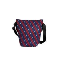 Mini Blue Red Stripes Stars pattern Messenger Bag