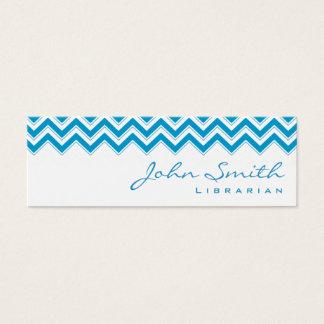 Mini Blue Zigzag Librarian Business Card