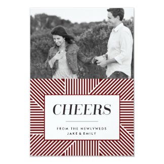 Mini Bold Holiday Engagement, Red Photo card