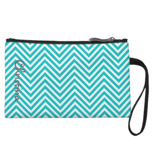 Mini bolso de embrague azul y blanco de Chevron