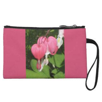 Mini bolso de embrague del rosa floral del corazón