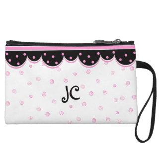 Mini bolso de embrague rosado, blanco, y negro