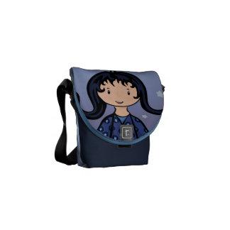 Mini bolso del carrito azul del chica bolsas messenger