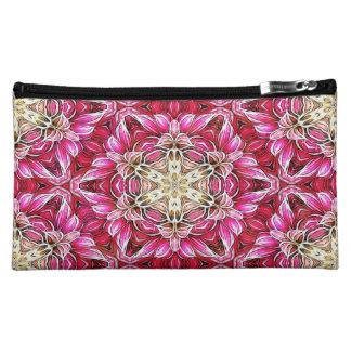 Mini bolso/embrague del estampado de flores rosado