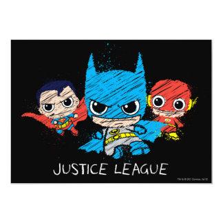 """Mini bosquejo de la liga de justicia invitación 5"""" x 7"""""""