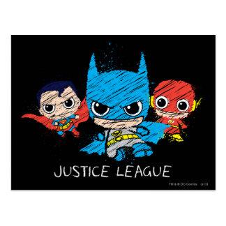 Mini bosquejo de la liga de justicia postales