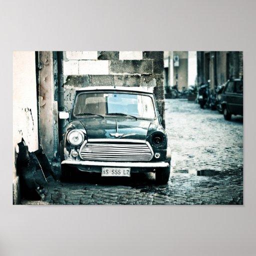 Mini británico clásico en Roma Póster
