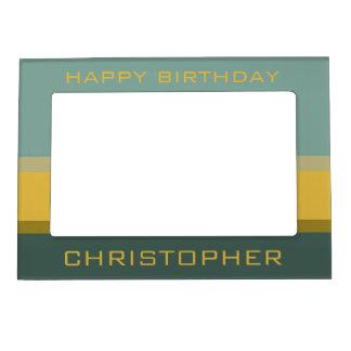 Mini Bus Blues Palette Stripe Personalized Magnetic Photo Frame