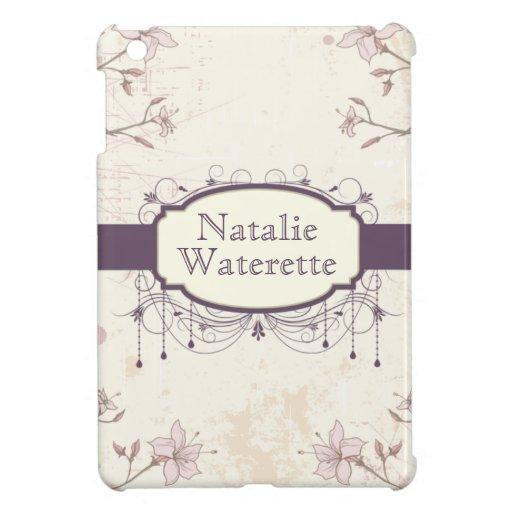 Mini caja personalizada del iPad floral púrpura de iPad Mini Protectores