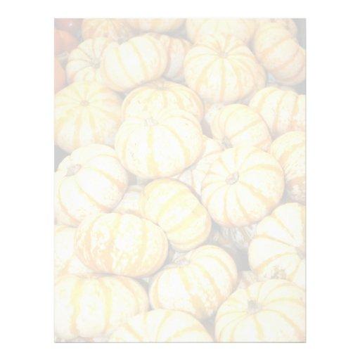 Mini calabazas blancas rayadas plantilla de membrete