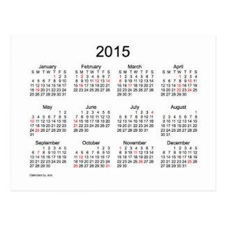 Mini calendario 2015 por Janz con días de fiesta Tarjetas Postales