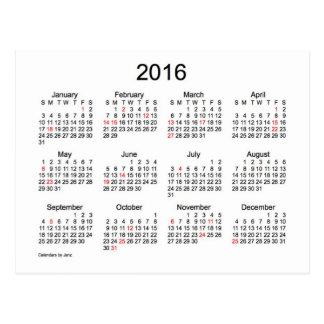 Mini calendario 2016 con días de fiesta postales