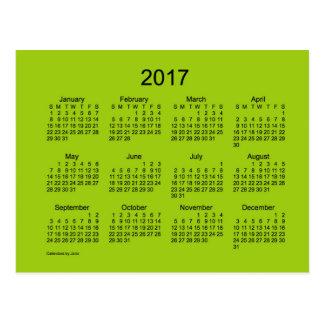 Mini calendario de color verde amarillo 2017 por postal