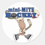 Mini camisetas y regalos del hockey del ácaro de pegatinas redondas