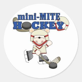Mini camisetas y regalos del hockey del ácaro del pegatina redonda