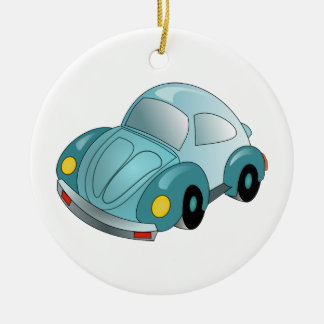 Mini Car Double-Sided Ceramic Round Christmas Ornament