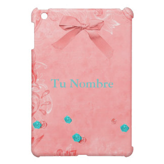 MINI CASE IPAD PINK TURQUOISE FOUNDS FLORES iPad MINI COVER