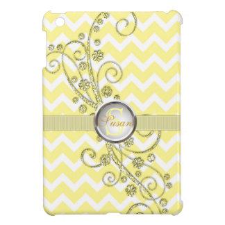 Mini caso de Chevron del iPad amarillo elegante de