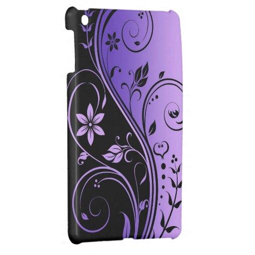 Mini caso de Ipad de la voluta floral púrpura