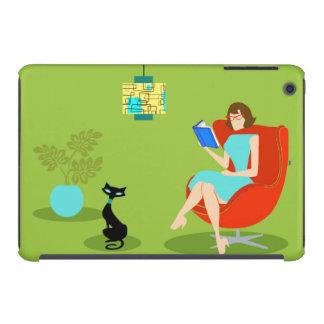 Mini caso de la lectura del iPad retro de la mujer Funda Para iPad Mini Retina