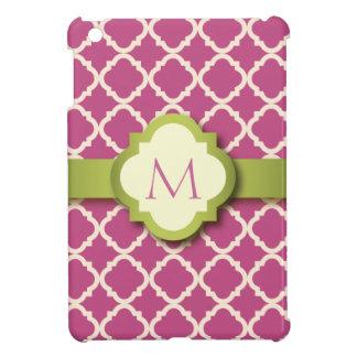 Mini caso de Quatrefoil del iPad rosado y verde de
