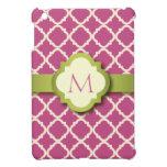 Mini caso de Quatrefoil del iPad rosado y verde de iPad Mini Funda