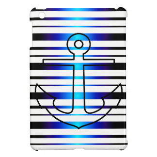 Mini caso del ancla de la raya azul del iPad náuti iPad Mini Carcasas