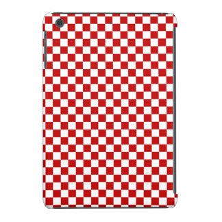 Mini caso del iPad a cuadros rojo y blanco Funda De iPad Mini