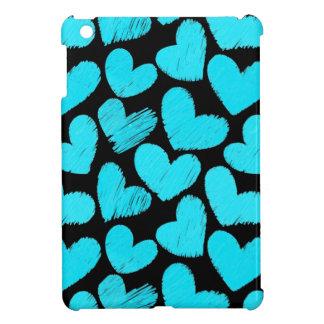 Mini caso del iPad azul y negro de los corazones
