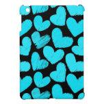 Mini caso del iPad azul y negro de los corazones iPad Mini Cobertura