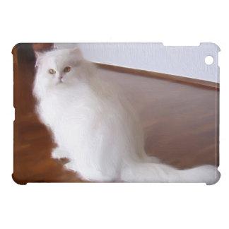 Mini caso del ipad blanco del gato persa
