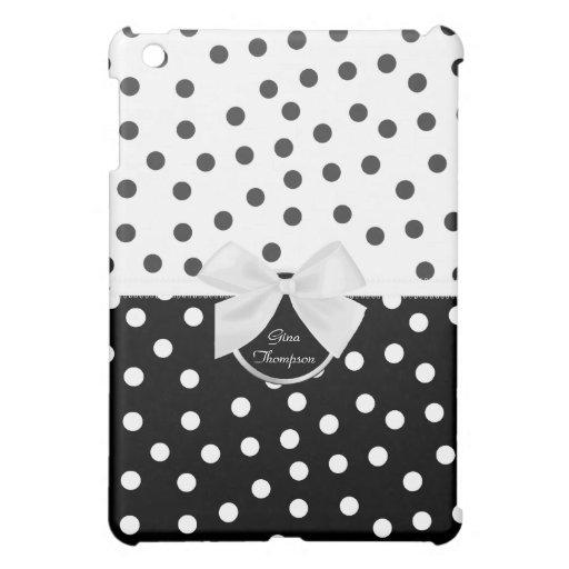 Mini caso del iPad blanco y negro del lunar