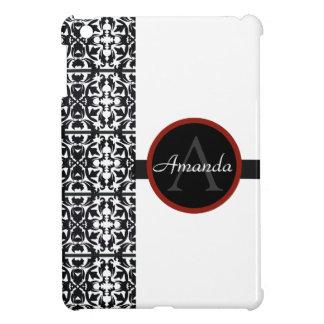 Mini caso del iPad con monograma blanco y negro de