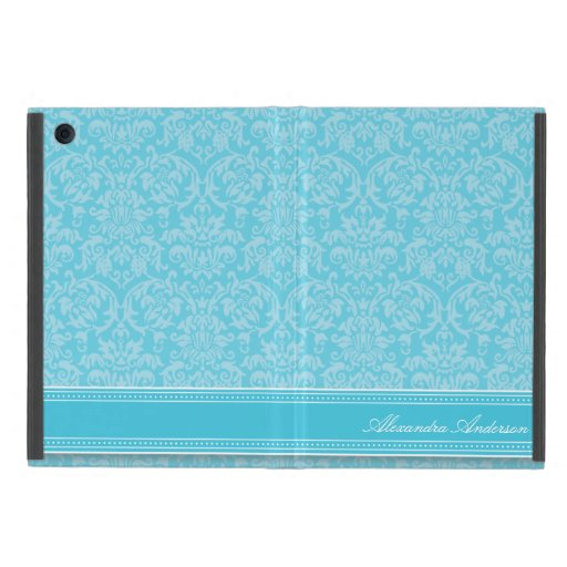 Mini caso del iPad elegante del damasco (aguamarin iPad Mini Coberturas