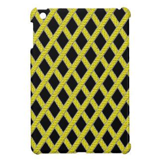 Mini caso del ipad entrecruzado amarillo y negro