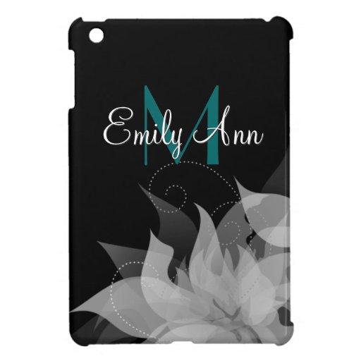 Mini caso del iPad floral blanco y negro de los ch