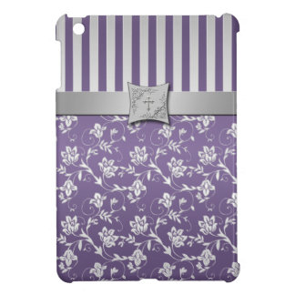 Mini caso del iPad floral de plata púrpura cristia