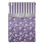 Mini caso del iPad floral de plata púrpura cristia iPad Mini Carcasa