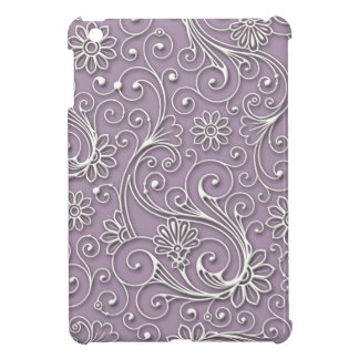 Mini caso del iPad plástico duro floral de plata