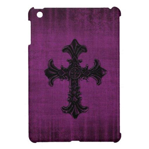 Mini caso del iPad púrpura con la cruz gótica iPad Mini Protectores